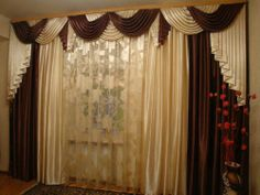 Brand New Handmade Curtain Panel & Waterfall Valance Triple Set-2, made-to-order