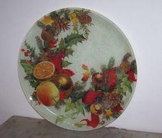 piatto vetro tema natalizio -by M.Cristina De Amicis