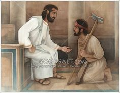 David is sitting in the palace in a chair as he talks with Mephibosheth, who is kneeling on the floor. David is telling Mephibosheth that he will take care of him and his family and servants.