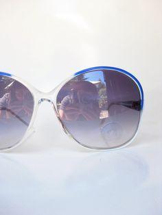 a65b0c4e42485 1970s Womens Sunglasses - White and Blue Sunnies - Vintage Oversized  Sunnies - White Italian Sunglasses - Vintage Italian Sunglasses