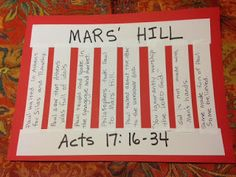 Acts 17:16-34.Mars' Hill. Paul enters a city on the blog tonight that is filled with idols. In fact, the city even has an idol to the UNKNOWN GOD! Do you know this city? Easy, inexpensive, and unique children's Bible lessons. Free to all! Take a look and share!