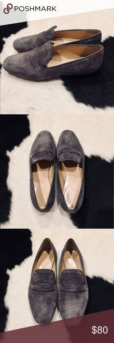 J. Crew Georgie Grey Suede Loafers Absolutely perfect condition! Brand new, no signs of wear. Women's size 5.5. Open to reasonable offers! J. Crew Shoes Flats & Loafers