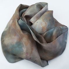 Habotai Silk Scarf hand-dyed with Plants, Flowers, Elderberries and Orange Pekoe Tea, no chemical mordants or dyes used