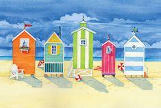 Brighton Huts by Paul Brent - x Giclee Canvas Art Print Beach Huts Art, Beach Art, Framed Art Prints, Fine Art Prints, Seaside Art, Kunst Poster, Cool Posters, Naive Art, Frames On Wall