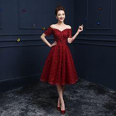 Formal+Evening+Dress+A-line+Off-the-shoulder+Tea-length+Lace+with+Appliques+/+Sequins+–+GBP+£+55.99