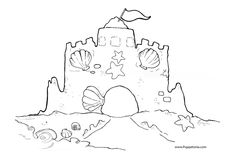 Sandcastle Outline Beach Coloring Page Free Printable Travel