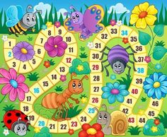 Lunarable Board Game Pet Mat for Food and Water, Various Kinds of Animals Bee Butterfly Ant Ladybug Kids Theme Spring Meadow, Rectangle Non-Slip Rubber Mat for Dogs and Cats, Multicolor Board Game Template, Printable Board Games, Board Game Themes, Banner Printing, Activity Games, Preschool Activities, Ladybug, Illustration, Vector Free