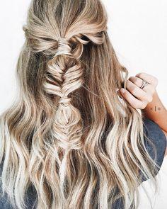 fishtail half-up/down textured hair