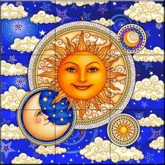 Celestial sun moon. Would make a newat quilt