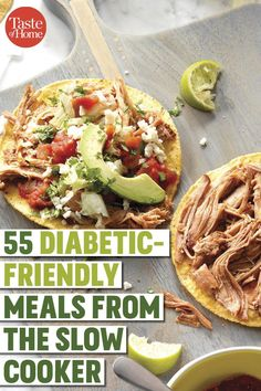 55 Diabetic-Friendly Dinners You Can Make in the Slow Cooker 55 Diabetic-Friendly Dinners You Can Make in the Slow Cooker 55 Diabetic-Friendly Meals from the Slow Cooker<br> Whipping up a diabetic-friendly dinner has never been so easy. Diabetic Slow Cooker Recipes, Healthy Recipes For Diabetics, Diabetic Meal Plan, Ketogenic Recipes, Diet Recipes, Cooking Recipes, Healthy Breakfast For Diabetics, Healthy Diabetic Recipes, Heart Healthy Meals