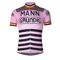 Retro Belgium 1970 Mann Grundig Pink Cycling Jersey | Freestylecycling.com