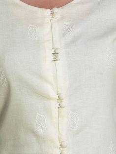Ivory Button Down Cotton Kurta by Ekadi Neck Designs For Suits, Neckline Designs, Sleeves Designs For Dresses, Dress Neck Designs, Stylish Dress Designs, Kurti Sleeves Design, Kurta Neck Design, Churidar Neck Designs, Kurta Designs Women