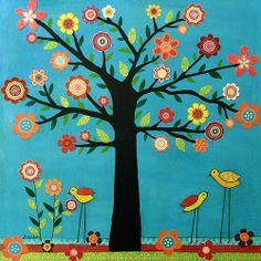 birds tree bulletin boards | Tree Flowers Birds Collage Art Painting - Sunshine by Sascalia