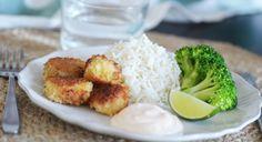 Pankopanerade fiskbullar med ris