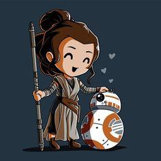 Bbffs t-shirt star wars teeturtle Rey Star Wars, Star Wars Fan Art, Star Wars Film, Finn Star Wars, Star Wars Trivia, Star Wars Facts, Star Wars Drawings, Cute Drawings, Tableau Star Wars