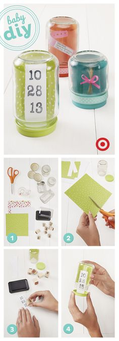 Don't toss those empty baby food jars quite yet. DIY a keepsake for your little one's room!