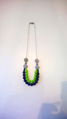 Seahawks Themed Teething Necklace- Dual Strand Nursing Necklace- Silicone Chewelry- Trendy Mom Necklace- Sensory Development Jewelry