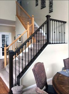 Antique Walnut Gel Stained Stairs - Home Decor Interior Stair Railing, Wrought Iron Stair Railing, Stair Banister, Stair Railing Design, Banisters, Rod Iron Railing, Railing Ideas, Metal Spindles Staircase, Stained Staircase