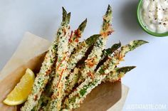 Asparagus Recipes: Cheesy Baked Asparagus Fries with Roasted Garlic Aioli Recipe