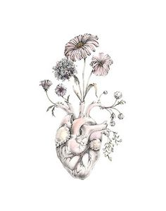 Like this, but with a brain instead of a heart, blooming Forget Me Nots