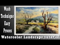 watercolour landscape tutorial: How to paint a simple beautiful landscape with wash watercolor 2 Watercolor Landscape Tutorial, Watercolor Paintings, Front Yard Landscaping, Beautiful Landscapes, Simple, Youtube, Craft Projects, Nice Asses, Water Colors