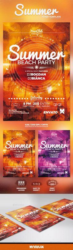 Summer Beach Party Flyer Template PSD. Download here: https://graphicriver.net/item/summer-beach-party-flyer/16948470?ref=ksioks