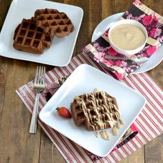 Chocolate Brownie Waffles with Peanut Butter Frosting! Possibly the greatest health food ever invented.