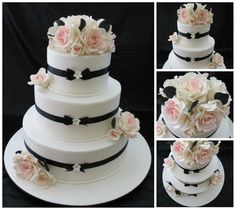 Black &amp White Rose Wedding Cake ‹ Sweet Things By Laura cakepins.com