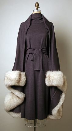 "1971 fur-trimmed wool Ensemble by Pauline Trigère (American, born France, 1908–2002) -- it has that 1930s vibe (possibly influenced by the popular 1967 film ""Bonnie & Clyde"")."
