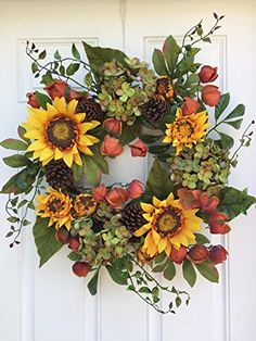 Autumn Elegance Yellow Sunflower Summer Wreath for Front Door Wreaths Indoor Outdoor Fall Year Round Sunflowers Farmhouse Wall Decor Use Though Fall Has Hydrangea Pine Cones Chinese Lanterns 22 inch Autumn Wreaths For Front Door, Holiday Wreaths, Door Wreaths, Rustic Wreaths, Halloween Wreaths, Yellow Sunflower, Sunflower Art, Sunflower Wreaths, Thanksgiving Wreaths