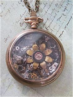 Steampunk jewelry necklace Spadix  Pocket Watch by steampunkjunq, #steampunk #pocketwatch #jewelry