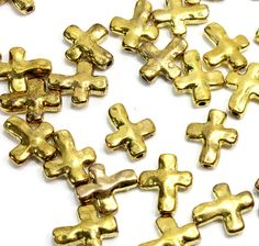 Hammered Look Gold Cross Beads. (20) Gold Metal Cross beads for Making Jewelry. Irregular Shape Small Crosses. Distressed Cross. 12mm