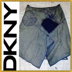 """‼️CYBER MON 30% OFF BUNDLES‼️Rare DKNY Denim Skirt ‼️ Bundle & save 30% through Cyber Monday only‼️  Almost vintage: in great condition. Bought this in the late 90s. Very unique pieced denim design w/ diagonal zipper in front & diagonal pocket on side. I got compliments every time I wore this. Waist: 15"""", Length: 24"""" at longest point in front, Length of back: 22"""". DKNY Skirts Midi"""