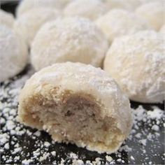 Mexican Wedding Cookies - Allrecipes.com. I used pecans in place of almonds and half vanilla, half almond extract. I baked these for 18 minutes and scooped them with my big cookie scoop, 3 tbsp. And rolled in powdered sugar shortly after I pulled them out of the oven.