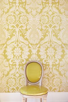 Alessandra Branca Collection for Schumacher - Anna Damask Acid Green linen fabric on walls Dining Room Colors, Gold Palette, Inspiration Wall, Fabric Wallpaper, Wall Treatments, Linen Fabric, Timeless Design, Interior Styling, Damask