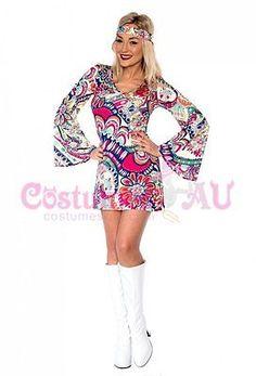 Ladies Retro Hippie Go Go Girl Disco Costume Fancy Dress Hen Xmas Party Up Fancy Dress Costume, Fancy Dress Up, Fancy Dress Outfits, Team Costumes, Disco Costume, Dresses Australia, Lady, Xmas Party, Senior Week