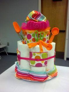 Wedding Shower Cake - centerpiece idea.  Different colors of course.