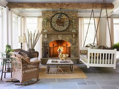 4 season porch, fireplace, and having swing which can be used for a bed; inviting area  Outdoor Fireplaces