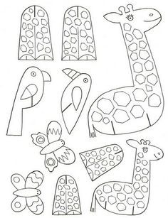 giraffe, bird, butterfly print on card stock color, cut out and put together.