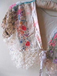 Silk Ribbon Embroidery (via Style Capelet Antique Silk Embroidery Embroidery Designs, Vintage Embroidery, Vintage Lace, Antique Lace, Upcycled Vintage, Repurposed, Silk Ribbon Embroidery, Hand Embroidery, Lace Ribbon