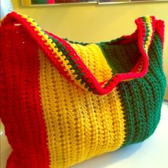 MAKE ME AN OFFER   Crochet Rasta handbag Handmade just for you -crochet 100% acrylic yarn. Color: red, green, & yellow. Handmade Bags Shoulder Bags