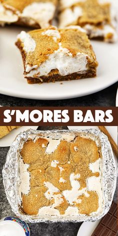 S'mores Bars - Loaded with golden graham cracker cookie dough, melty chocolate bars, and fluffy marshmallow creme, these bars are the perfect way to enjoy S'mores with no campfire. Cheesecake Desserts, No Bake Desserts, Easy Desserts, Delicious Desserts, Best Dessert Recipes, Desert Recipes, Sweet Recipes, Bar Recipes, Donut Recipes
