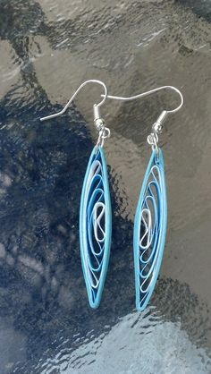 Blue Dangle Paper Quilling Earrings paper by SweetheartsandCrafts