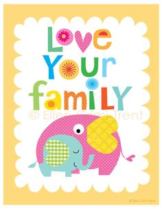 Art print- Love your family- typography print. $18.00, via Etsy.