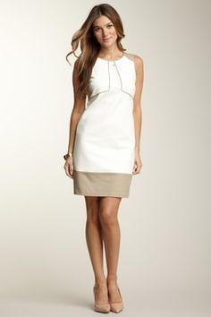 Sleeveless Colorblock Shift Dress