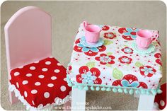 Doll Table Chairs {with Fitted Tablecloth Chair Covers}. Kids Table And Chairs, Make A Table, Kid Table, Diy For Kids, Crafts For Kids, American Girl Diy, Chair Covers, Diy Doll, Diy Crafts To Sell