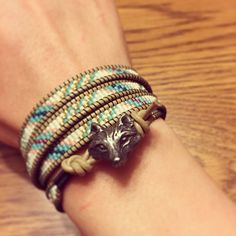 Wolf button wrap bracelet