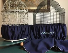 Handcrafted Navy Blue Fabric Bird Cage Seed Catcher Skirt Guard or Cover XS-XXL #Unbranded