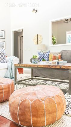How to Buy Leather Moroccan Poufs on the Cheap- Boho Leather ...