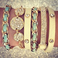 Mint & Cream Pave Bracelets ♡